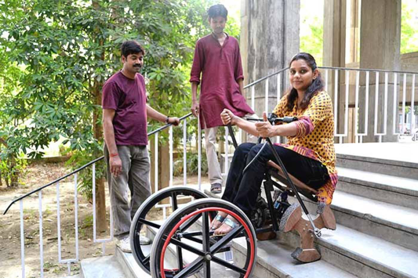 A convertible wheelchair designed by a team at the Indian Institute of Technology Kanpur enables independent access for user in ascending and descending stairs and others obstacles like curbs. Source: http://jugaadtoinnovation.blogspot.in/2013/01/indian-creativity-can-have-global.html?m=1